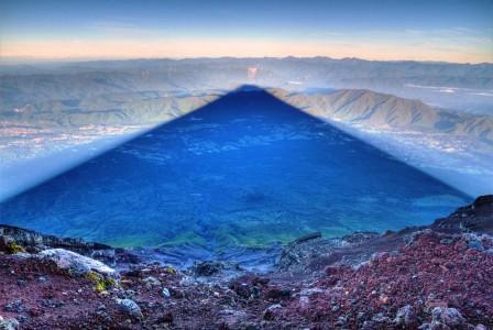 The 15 mile-long shadow of Fujiyama Mountain, Japan