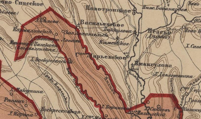 Красным цветом на карте 1905 года обозначена территория Оренбургского казачьего войска, на котором находился Кармалинский, бежевым цветом выделена гражданская территория
