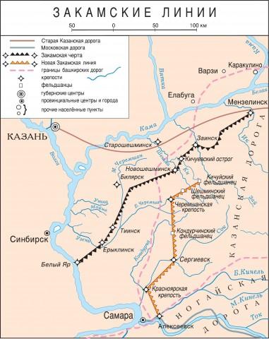 На карте видны две оборонительные линии