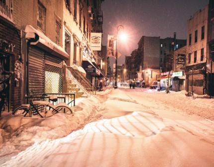снег в нью йорке фото